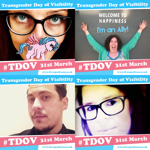 Photos with the Transgender day of Visiblity Banner